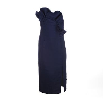 tube top frilled midi dress navy
